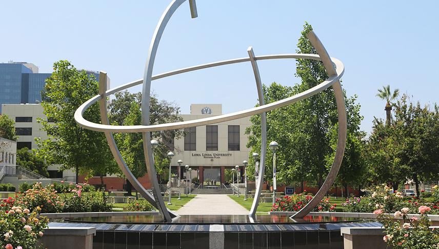 loma linda globe sculpture on campus