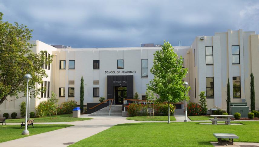 image of the front of the school of pharmacy building